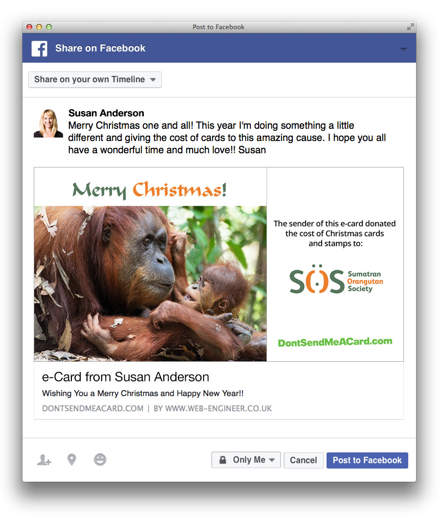 Example E Card And Message Being Shared To Facebook