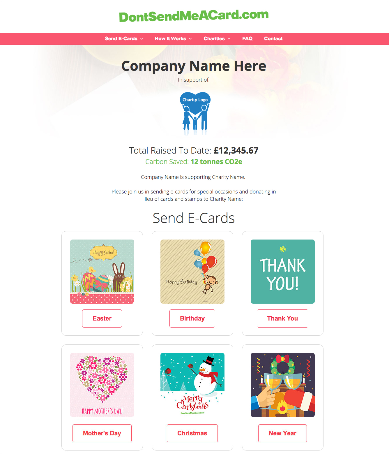 Example company landing page